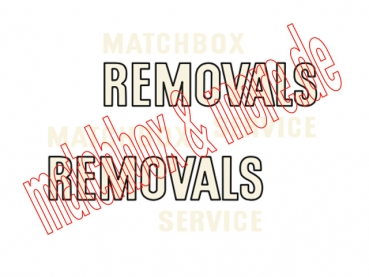 """MATCHBOX REMOVALS SERVICE"" Decals  ( Outlined ) für Bedford Van No. 17 B"