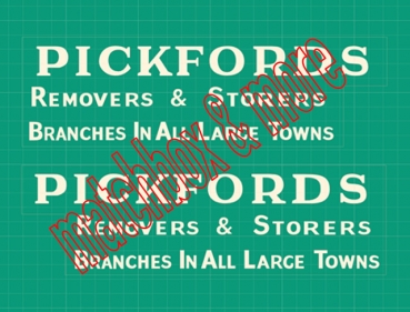 """PICKFORDS REMOVERS & STORERS"" ( three lines ) Decals für GUY Removal Van No. 47B"